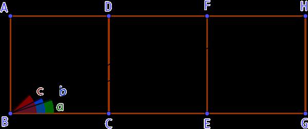 3 carrés et 3 angles