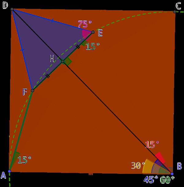 3 triangles équilatéraux dans un carré