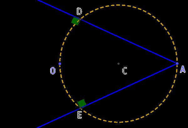 Tangente au cercle à partir d'un point extérieur au cercle