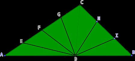 Triangle partagé en sept triangles de même aire