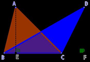 Deux triangles de même base entre deux parallèles