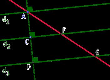 3 droites parallèles et une sécante