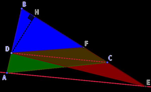 Partager un triangle en deux figures d'aire égale