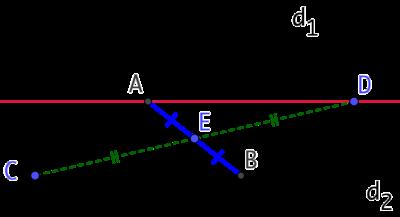 Segment dont le milieu est donné et dont les extrémités sont sur deux droites sécantes