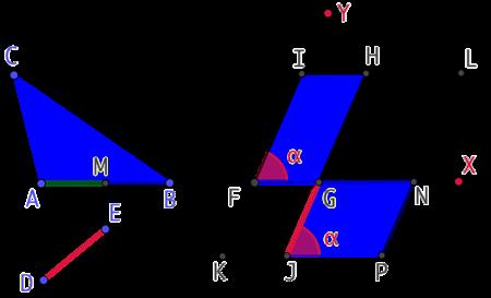 Construire un parallélogramme de même aire qu'un triangle (Version 2)