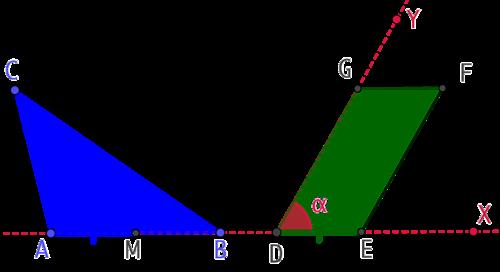 Construire un parallélogramme de même aire qu'un triangle