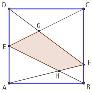 Un quadrilatère dans un carré