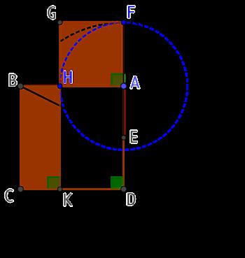 Partage d'un segment en deux pour construire un carré et un rectangle de même aire