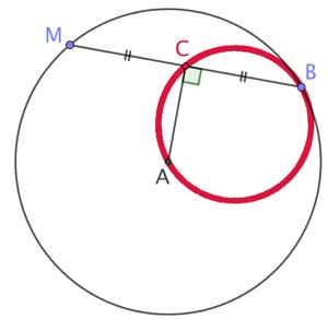 Lieu géométrique des milieux de toutes les cordes menées par un point donné d'un cercle