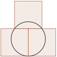 3 carrés sur un cercle