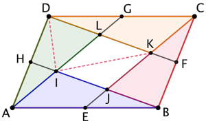 Parallélogramme divisé en 5 aires égales