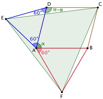 Un parallélogramme et 3 triangles équilatéraux