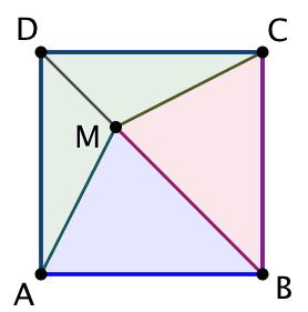 Partager un carré en 3 aires égales
