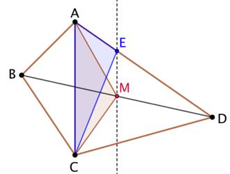 Un quadrilatère découpé en deux aires égales