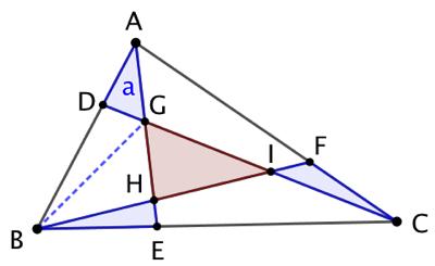 Rapport d'aires dans un triangle découpé en 7