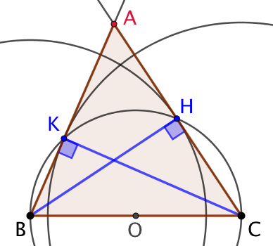 Triangle dont on connaît la base et deux hauteurs