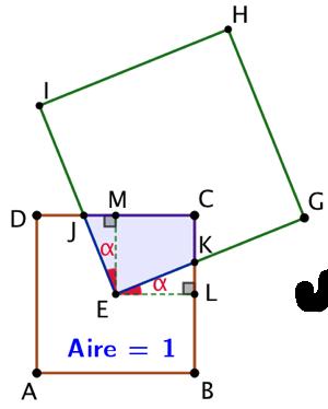Deux carrés de tailles différentes et se recouvrant partiellement