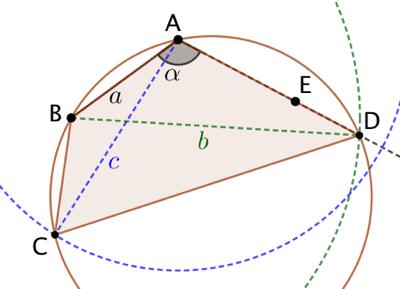 Quadrilatère inscriptible connaissant un angle, un côté adjacent et les deux diagonales