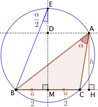 Triangle connaissant la hauteur, l'angle du sommet et la longueur de la base