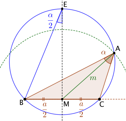 Triangle connaissant la médiane, l'angle du sommet et la longueur de la base