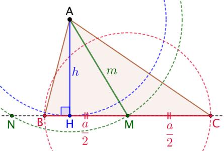 Triangle connaissant les longueurs d'un côté, de la hauteur et de la médiane correspondantes