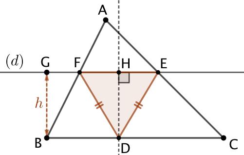 Triangle isocèle inscrit dans un triangle avec une hauteur donnée et la base parallèle à un côté