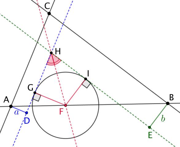 Cercle dont le centre est sur une droite et dont les distances à deux autres droites sont données