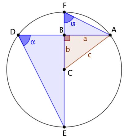Théorème de Pythagore (2 triangles semblables dans un cercle)